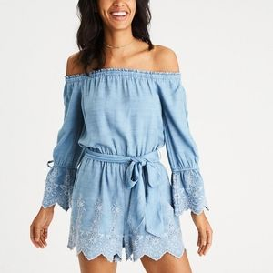 American Eagle Blue Chambray Embroidered Romper S